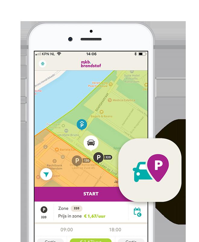 Dé app voor straatparkeren en slagboomparkeren met MKB Brandstof app